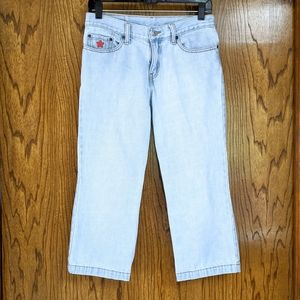 LEVI'S 306 Light Wash Crop Embroidered Jeans 4